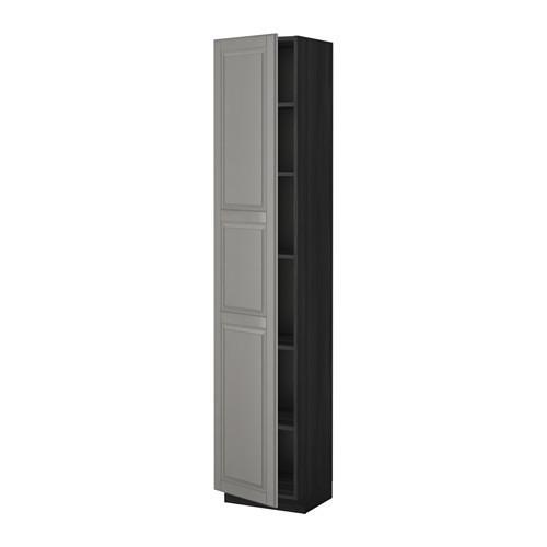МЕТОД Высок шкаф с полками - 40x37x200 см, Будбин серый, под дерево черный