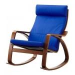 ПОЭНГ Кресло-качалка - Гранон синий, классический коричневый
