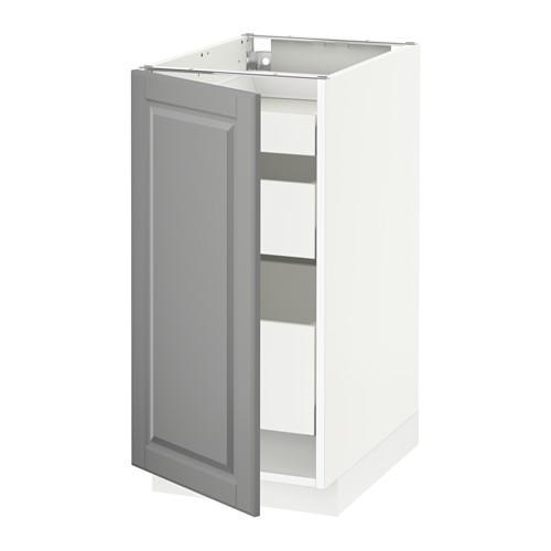 МЕТОД / МАКСИМЕРА Напольный шкаф с 1двр/3ящ - 40x60 см, Будбин серый, белый
