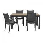 ФАЛЬСТЕР / ИННАМУ Стол+4 кресла, д/сада - черно-коричневый/темно-серый