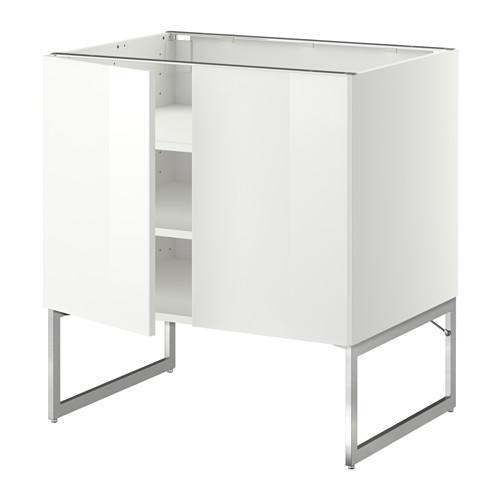 МЕТОД Напол шкаф с полками/2двери - 80x60x60 см, Рингульт глянцевый белый, белый