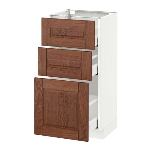 МЕТОД / МАКСИМЕРА Напольный шкаф с 3 ящиками - 40x37 см, Филипстад коричневый, белый