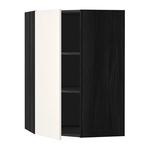 МЕТОД Угловой навесной шкаф с полками - 68x100 см, Веддинге белый, под дерево черный