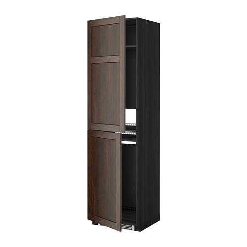 МЕТОД Высок шкаф д холодильн/мороз - 60x60x220 см, Эдсерум под дерево коричневый, под дерево черный