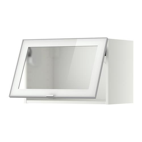 МЕТОД Гориз навесн шкаф со стекл дверью - 60x40 см, белый, Ютис матовое стекло/алюминий