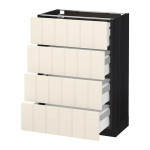 МЕТОД / МАКСИМЕРА Напольн шкаф 4 фронт панели/4 ящика - 60x37 см, Хитарп белый с оттенком, под дерево черный