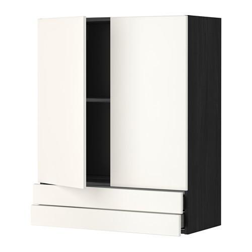 МЕТОД / МАКСИМЕРА Навесной шкаф/2дверцы/2ящика - 80x100 см, Веддинге белый, под дерево черный