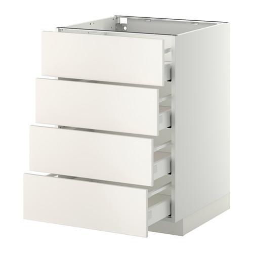 МЕТОД / МАКСИМЕРА Напольн шкаф 4 фронт панели/4 ящика - 60x60 см, Веддинге белый, белый