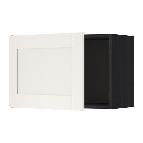МЕТОД Шкаф навесной - 60x40 см, Сэведаль белый, под дерево черный