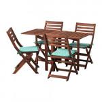ЭПЛАРО Стол+4 складных стула, д/сада - Эпларо коричневая морилка/Нэстон зеленый