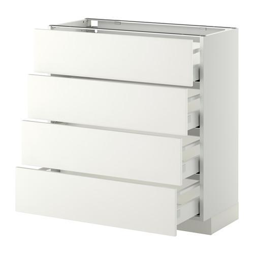 МЕТОД / МАКСИМЕРА Напольн шкаф 4 фронт панели/4 ящика - 80x37 см, Хэггеби белый, белый