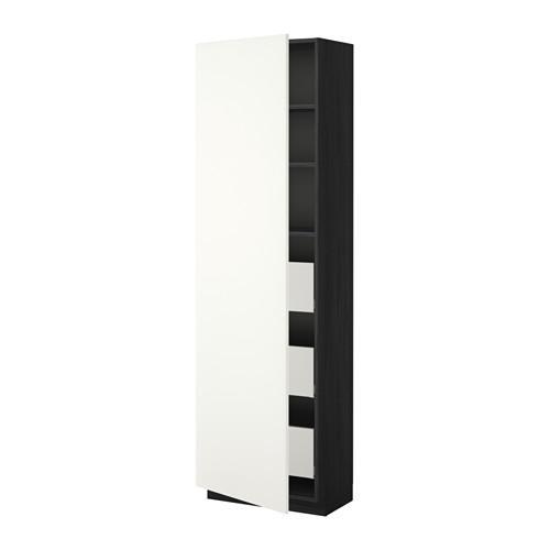 МЕТОД / МАКСИМЕРА Высокий шкаф с ящиками - 60x37x200 см, Хэггеби белый, под дерево черный