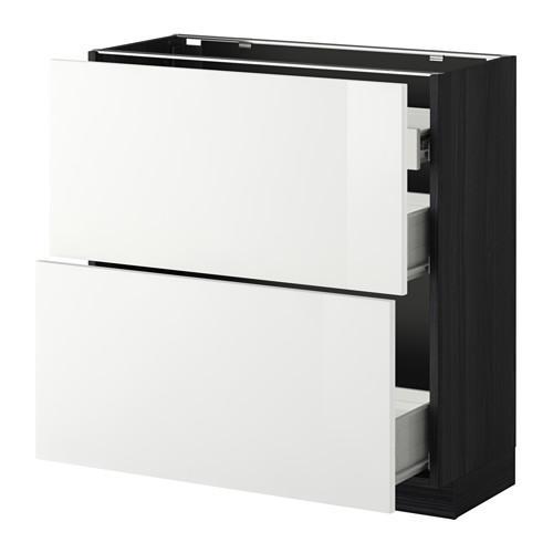 VERFAHREN / FORVARA Nap Schrank 2 FRNT PNL / 1nizk / 2sr Schubladen - Holz schwarz, glänzend weiß Ringult, 80x37 cm