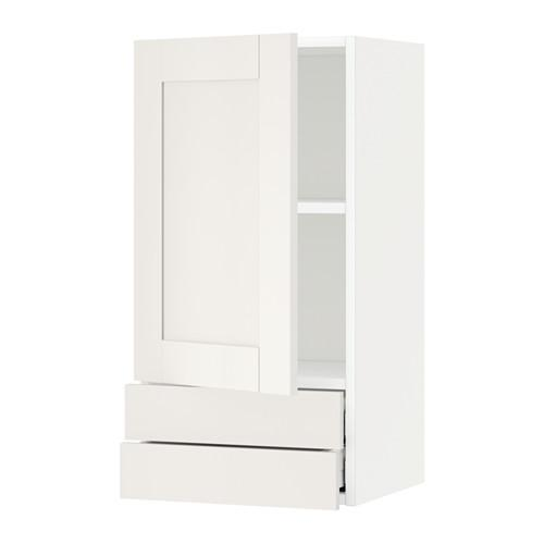 МЕТОД / МАКСИМЕРА Навесной шкаф с дверцей/2 ящика - 40x80 см, Сэведаль белый, белый