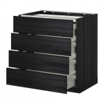 METHOD / MAXIMER Outdoor cabinet / 4 front / 4 drawer - for wood black, Tingsried for wood black, 80x60 cm