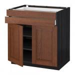 МЕТОД / МАКСИМЕРА Напольный шкаф/2дверцы/2ящика - 80x60 см, Филипстад коричневый, под дерево черный