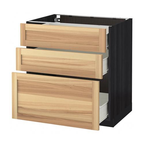 MÉTODO / FORVARA base del armario con cajones 3 - madera de color negro, Torhemn fresno natural, 80x60 cm