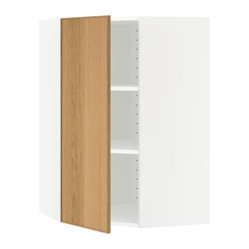 МЕТОД Угловой навесной шкаф с полками - 68x100 см, Экестад дуб, белый