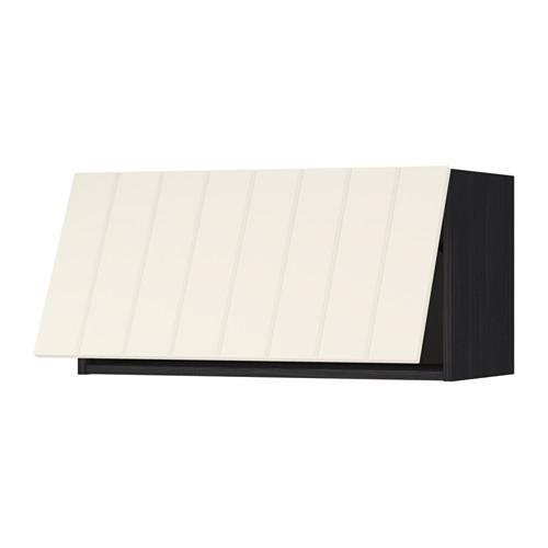 МЕТОД Горизонтальный навесной шкаф - 80x40 см, Хитарп белый с оттенком, под дерево черный