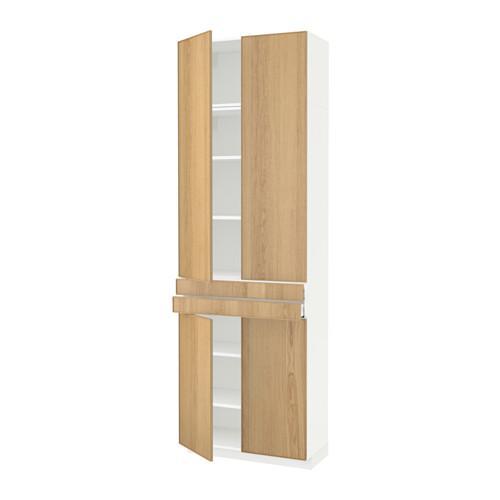 МЕТОД / МАКСИМЕРА Высокий шкаф+полки/2 ящика/4 дверцы - Экестад дуб, белый