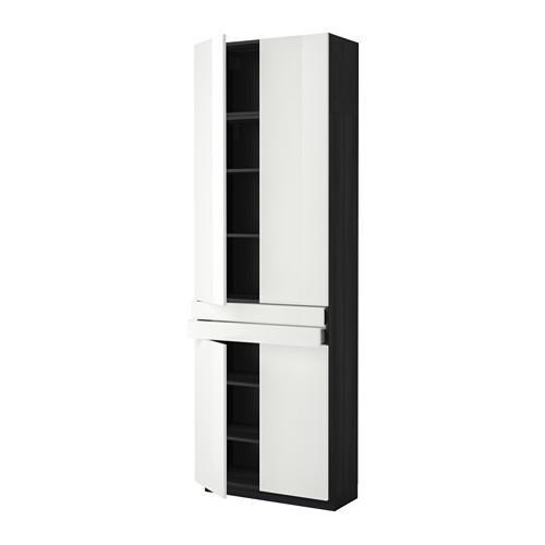 МЕТОД / МАКСИМЕРА Высокий шкаф+полки/2 ящика/4 дверцы - под дерево черный, Рингульт глянцевый белый