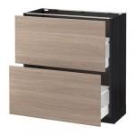 МЕТОД / МАКСИМЕРА Напольный шкаф с 2 ящиками - 80x37 см, Брокхульт под грецкий орех светло-серый, под дерево черный
