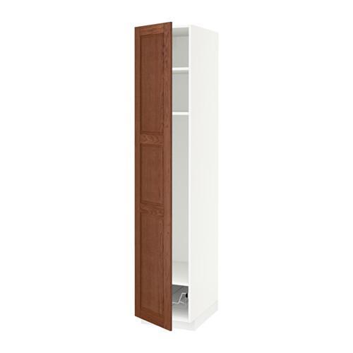 МЕТОД Выс шкаф с полками/проволоч корзин - 40x60x200 см, Филипстад коричневый, белый