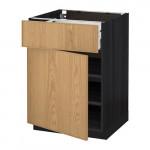 МЕТОД / МАКСИМЕРА Напольный шкаф с ящиком/дверью - 60x60 см, Экестад дуб, под дерево черный