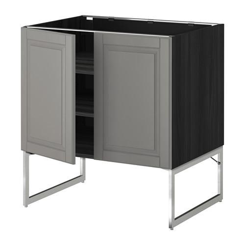МЕТОД Напол шкаф с полками/2двери - 80x60x60 см, Будбин серый, под дерево черный