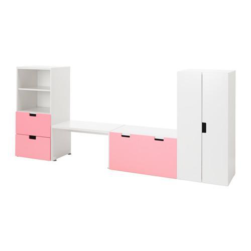 СТУВА Комбинация д/хранен со скамьей - белый/розовый