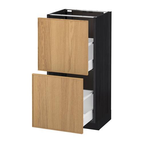МЕТОД / МАКСИМЕРА Напольный шкаф с 2 ящиками - 40x37 см, Экестад дуб, под дерево черный