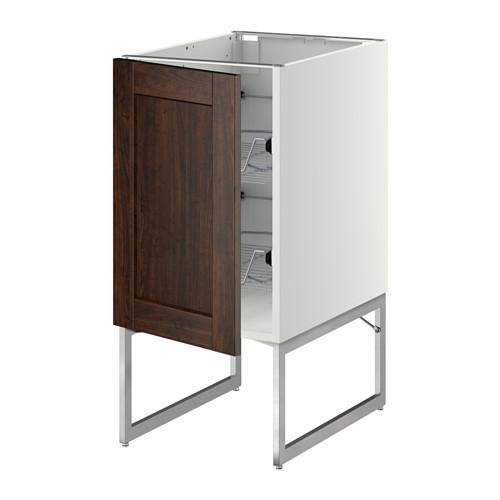 МЕТОД Напольный шкаф с проволочн ящиками - 40x60x60 см, Эдсерум под дерево коричневый, белый
