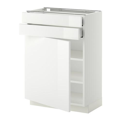 МЕТОД / МАКСИМЕРА Напольный шкаф с дверцей/2 ящиками - 60x37 см, Рингульт глянцевый белый, белый
