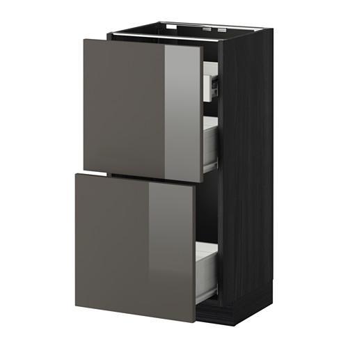 VERFAHREN / FORVARA Nap Schrank 2 FRNT PNL / 1nizk / 2sr Schubladen - Holz schwarz, glänzend grau Ringult, 40x37 cm
