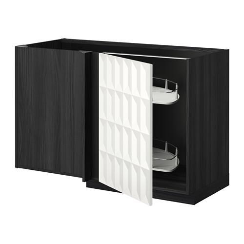 МЕТОД Угловой напол шкаф с выдвижн секц - Гэррестад белый, под дерево черный