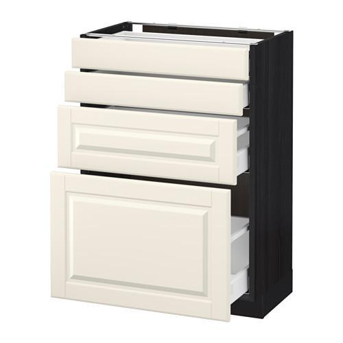 МЕТОД / МАКСИМЕРА Напольн шкаф 4 фронт панели/4 ящика - 60x37 см, Будбин белый с оттенком, под дерево черный