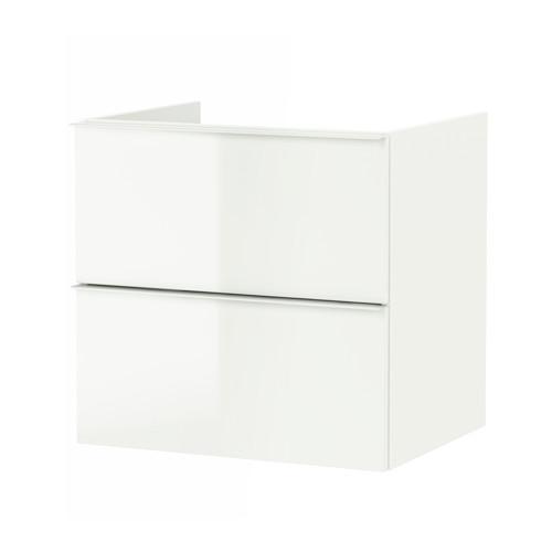 ГОДМОРГОН Шкаф для раковины с 2 ящ - глянцевый белый, 60x47x58 см