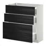 МЕТОД / ФОРВАРА Напольный шкаф с 3 ящиками - 80x37 см, Тингсрид под дерево черный, белый