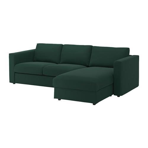 Vimle 3 Local Sofa Con Una Cabra Gunnared Verde Oscuro 592 070