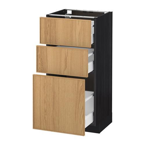 МЕТОД / МАКСИМЕРА Напольный шкаф с 3 ящиками - 40x37 см, Экестад дуб, под дерево черный