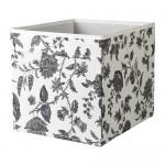 ДРЁНА Коробка - с цветочным орнаментом черный/белый