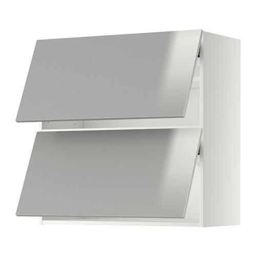 МЕТОД Навесной шкаф/2 дверцы, горизонтал - 80x80 см, Гревста нержавеющ сталь, белый