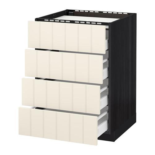 МЕТОД / МАКСИМЕРА Напольн шкаф/4фронт пнл/4ящика - 60x60 см, Хитарп белый с оттенком, под дерево черный