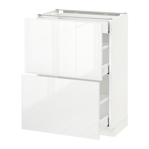МЕТОД / МАКСИМЕРА Напольный шкаф/2фасада/3ящика - 60x37 см, Рингульт глянцевый белый, белый