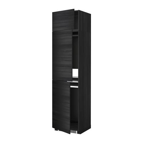 МЕТОД Выс шкаф для хол/мороз с 3 дверями - Тингсрид под дерево черный, под дерево черный