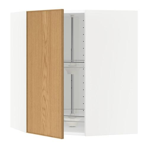 МЕТОД Угл нвсн шкф с вращающ секц - 68x80 см, Экестад дуб, белый