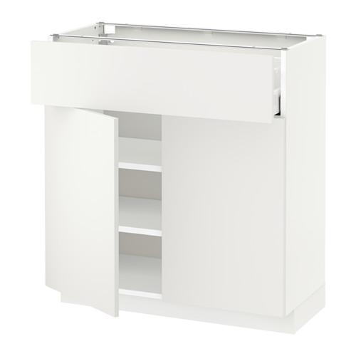МЕТОД / МАКСИМЕРА Напольный шкаф+ящик/2дверцы - 80x37 см, Хэггеби белый, белый