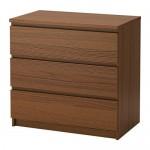 МАЛЬМ Комод с 3 ящиками - коричневая морилка ясеневый шпон