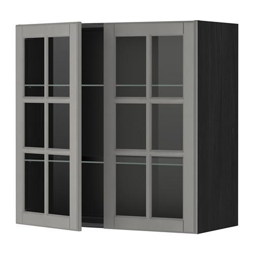 МЕТОД Навесной шкаф с полками/2 стекл дв - 80x80 см, Будбин серый, под дерево черный