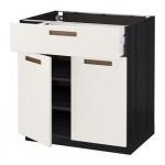 МЕТОД / МАКСИМЕРА Напольный шкаф+ящик/2дверцы - 80x60 см, Мэрста белый, под дерево черный